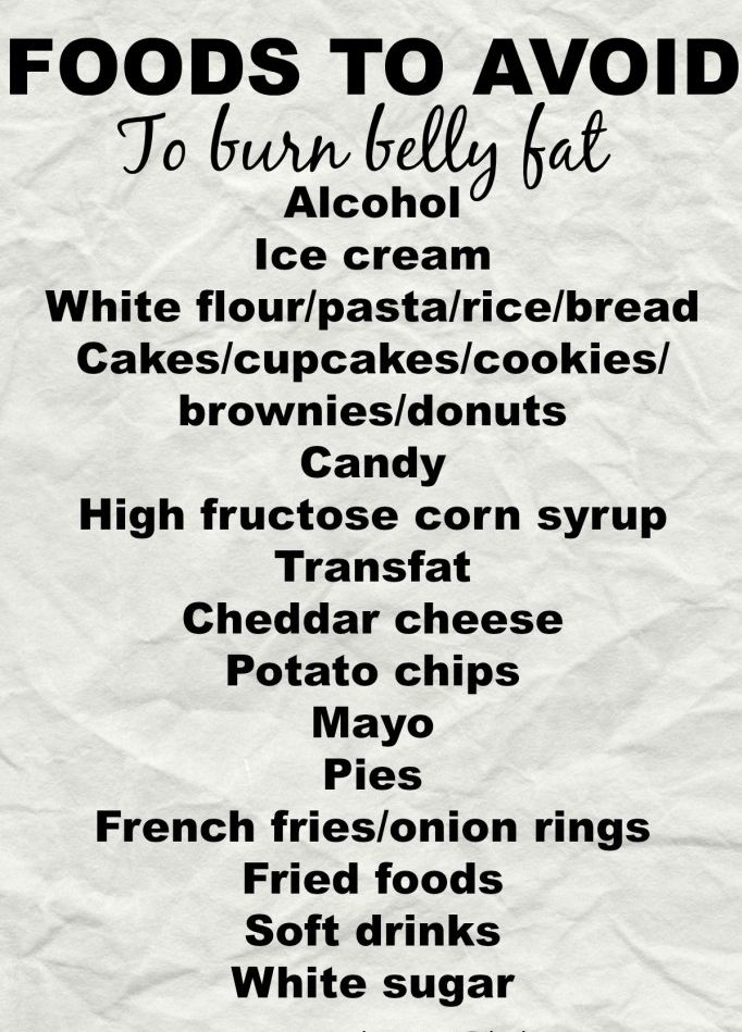 Foods to Avoid to Burn Belly Fat