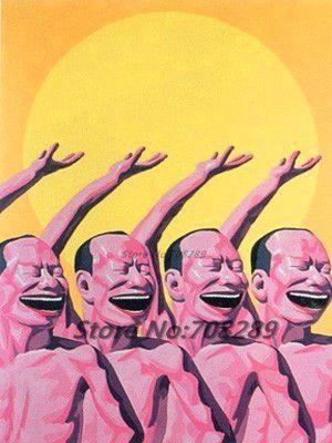 Китай известный современный художник Minjun юэ хип-хоп улыбающееся лицо холст современная декоративная абстрактное искусство walloil живопись 41