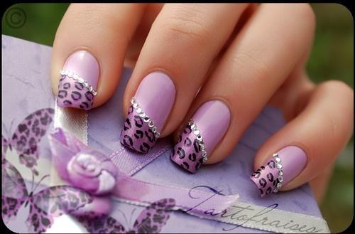 Nails - purple and cheetah print
