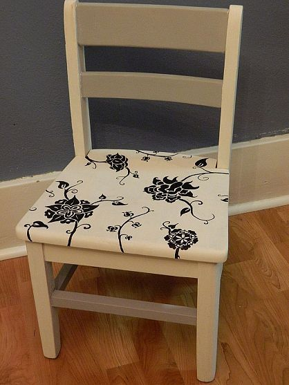 Adventures in Chalk paint: free hand painted child's chair.