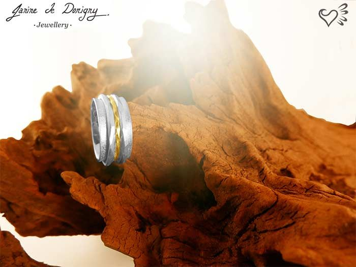 spinning ring, a.k.a. fidget ring. Gold and silver