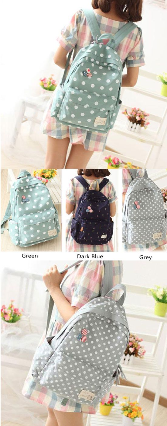 Latest Dot Canvas Backpack & Book Bag for big sale! #canvas #dot #school #backpack #bag #cute #college #student #rucksack #travel