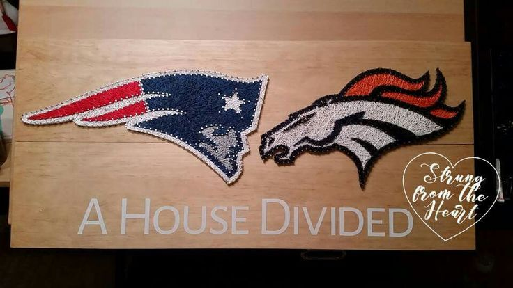 Patriots vs Broncos House Divided String art sign by Strung from the Heart