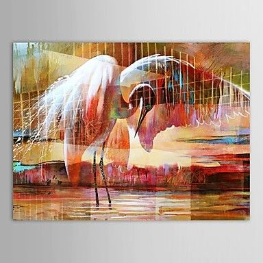Hand Painted Oil Painting Animal Two Swan Looking for Foods with Stretched Frame – AUD $ 100.09