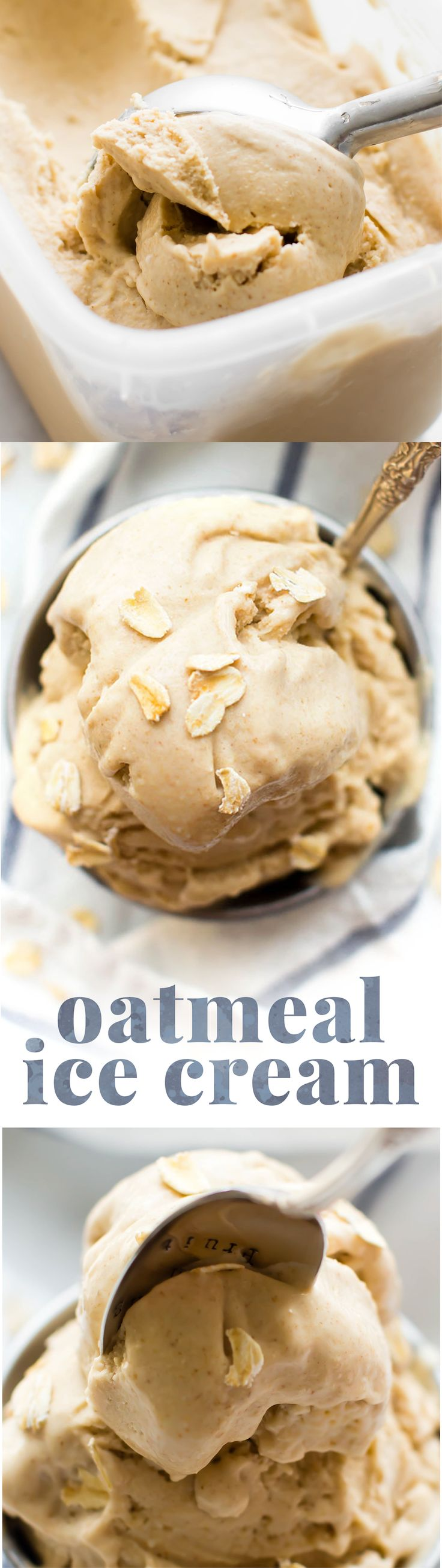 Sweet creamy Vanilla Oatmeal Ice Cream made from just 5 healthy ingredients that proves oats aren't just for breakfast and ice cream isn't just for dessert!