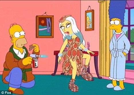 Neat meat: Homer gets to witness the infamous meat dress firsthand