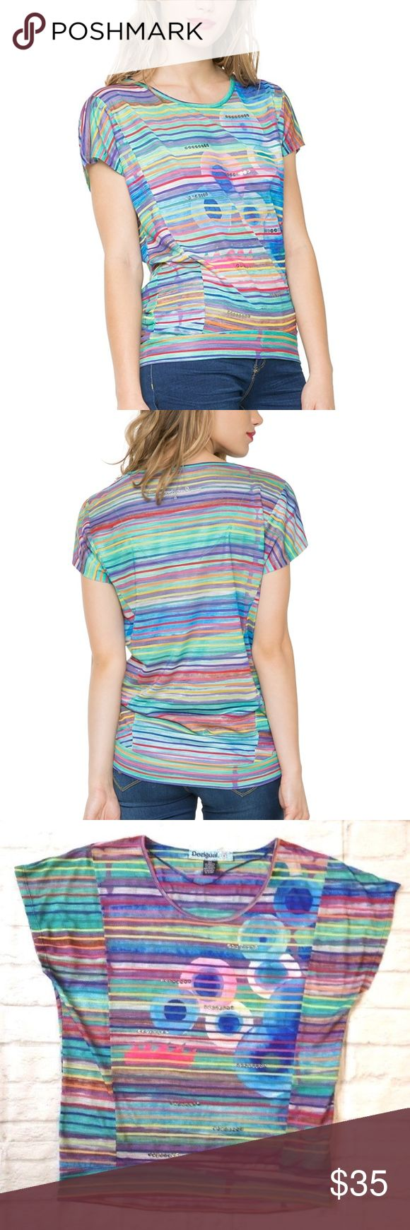 DESIGUAL ANTHEA STRIPE SEQUIN TEE SHIRT TOP SMALL CUTE DESIGUAL ANTHEA MULTI-COLOURED STRIPE TEE FINISHED WITH SILVER SEQUINS  Womens size Small pit to pit = 20'' length = 34''  LIGHT & COMFORTABLE FABRIC I FOUND 2 SMALL HOLES ON THE FRONT. THEY ARE BOTH PICTURED OTHERWISE IN GOOD CONDITION. NO STAINS Desigual Tops Tees - Short Sleeve
