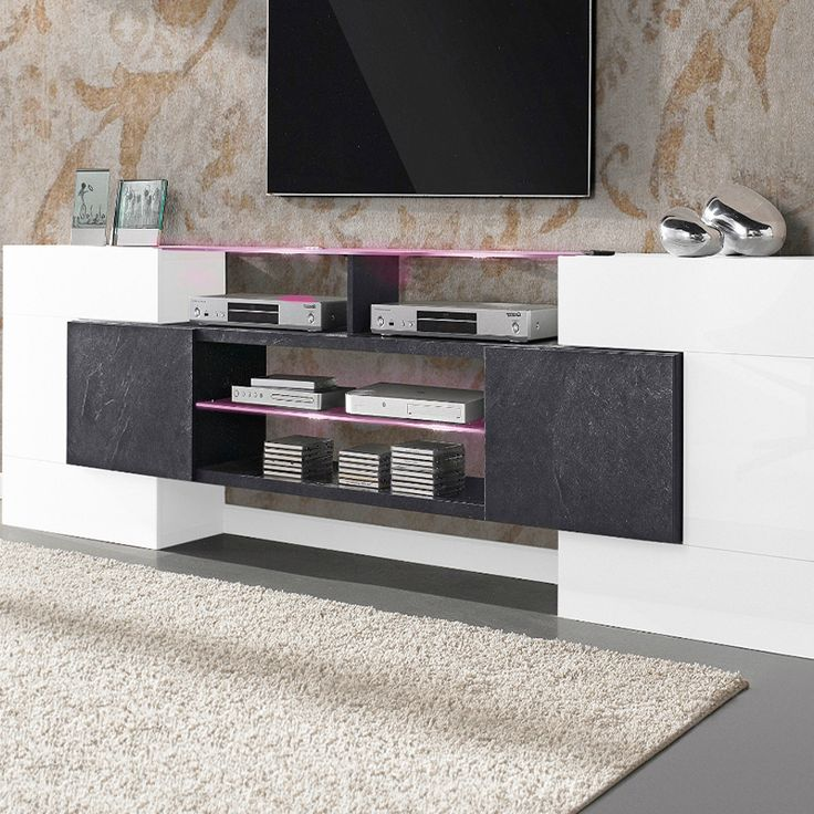 meuble tv laqu blanc et effet b ton cir design reality. Black Bedroom Furniture Sets. Home Design Ideas