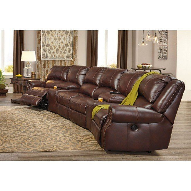 Collinsville Chestnut Reclining Home Theater Sectional Living