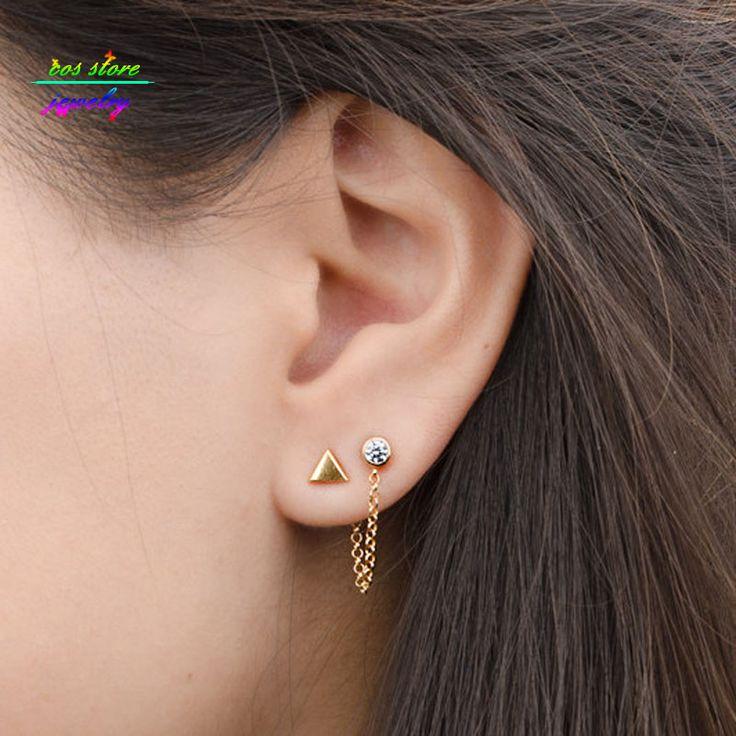 2 pairset baru singkat emas tone geometric stud earrings set wanita
