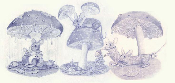 Pencil sketch mouse family, black and white. Art by kramstedt http://kramstedt.blogg.se animal illustration, mushroom forest