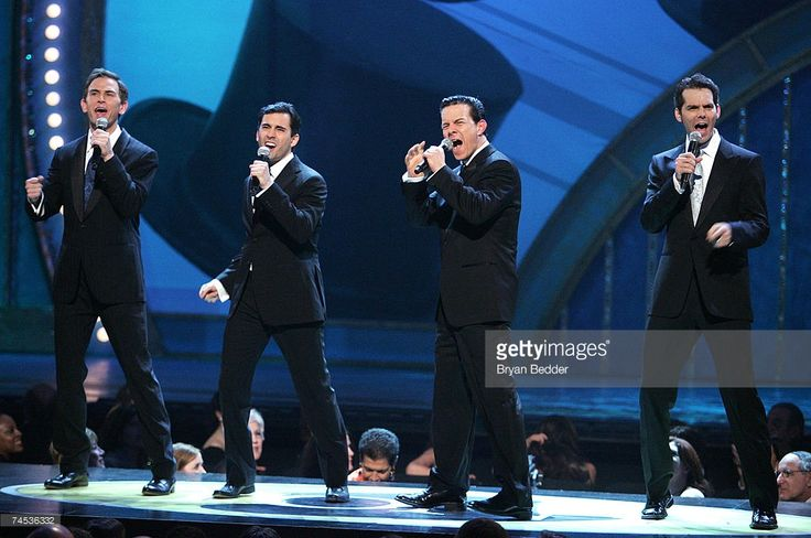 Actors Daniel Reichard, John Lloyd Young, Christian Hoff and J. Robert Spencer of the Jersey Boys perform onstage at the 61st Annual Tony Awards at Radio City Music Hall on June 10, 2007 in New York City.