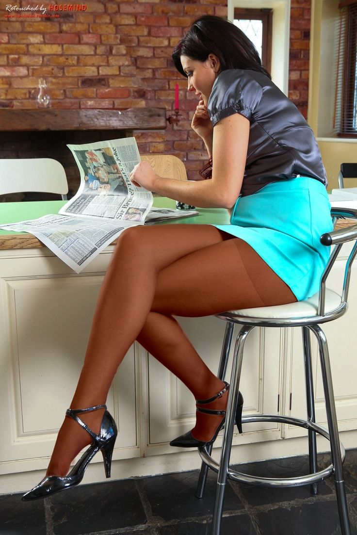 Short Blue Pencil Skirt Gray Satin Blouse Coffee Pantyhose and Gray Strappy High Heels