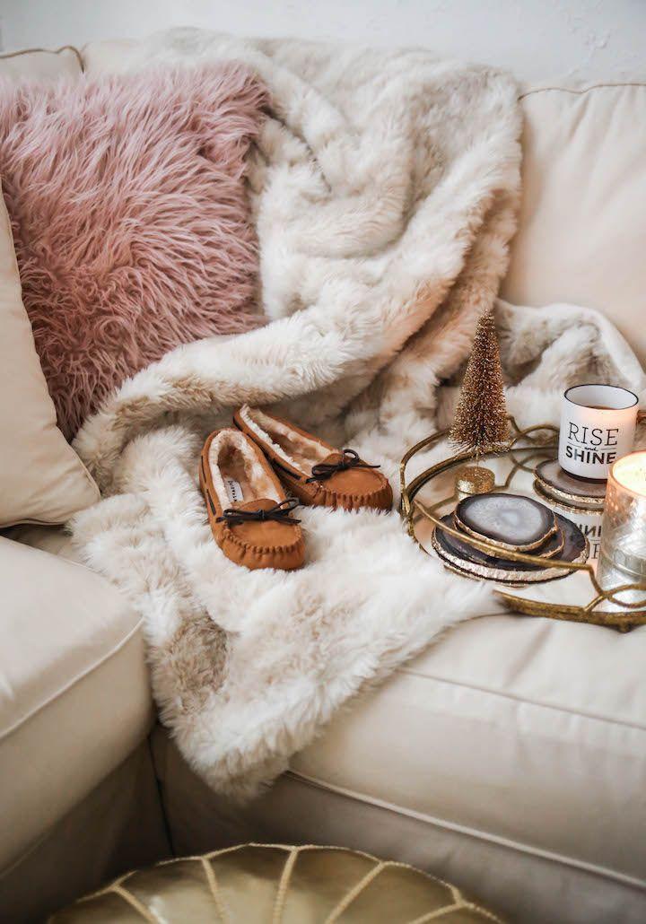 haute off the rack, plaid pajama pants, grey turtleneck sweater, flurry moc slippers, cozy slippers, cozy christmas pajamas, christmas pjs, christmas time, women's fashion, holiday style, faux fur blanket, faux fur pillow, blush pillow