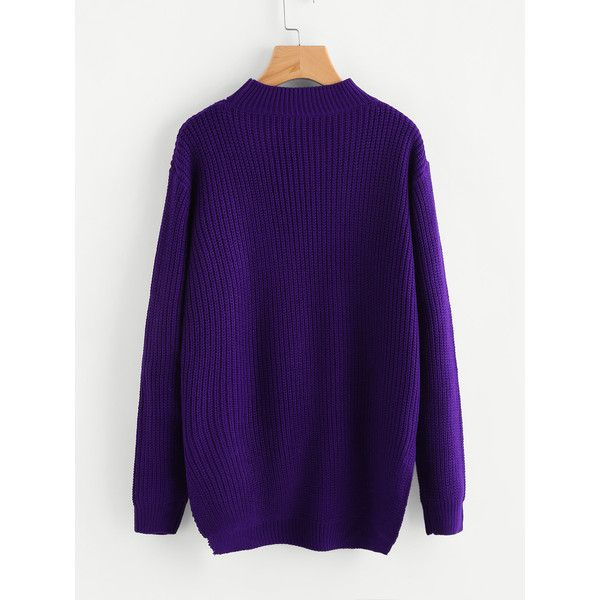 Choker Neck Stepped Hem Jumper ❤ liked on Polyvore featuring tops, sweaters, purple sweater, jumper tops, jumpers sweaters, purple jumper and purple top