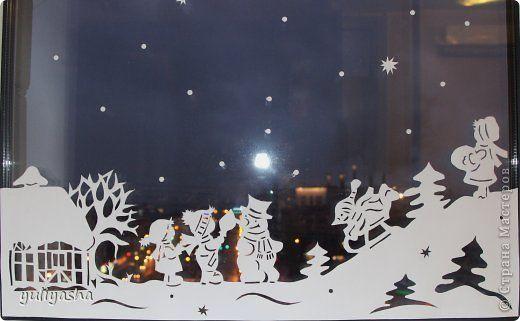 Декор предметов Новый год Аппликация Новогодние окна   Бумага фото 8