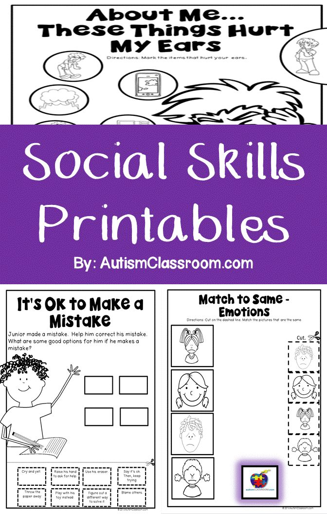 Things to tell yourself when you make a mistake. Self-advocacy for things that hurt and match-to-same emotions. Printables to teach social skills in an autism classroom.  #socialskills #autism #autismclassroom