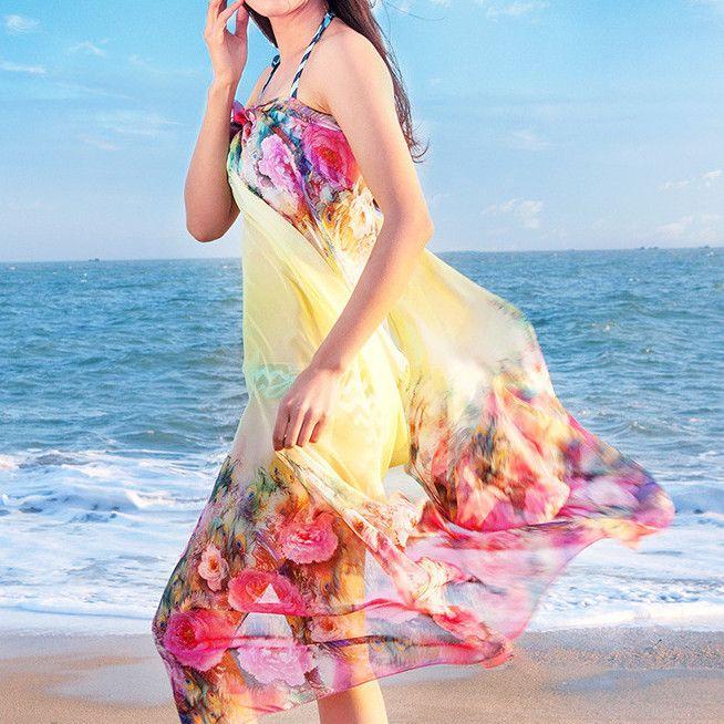 Large Floral Summer Beach Silk Shawl Scarf - Yellow