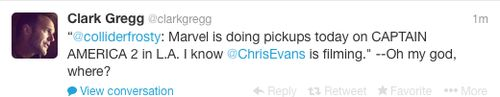 "Tweet from Clark Gregg during filming of pickup scenes for ""Captain America: The Winter Soldier"""