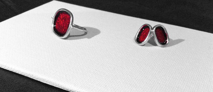 Rosso, 2014 Anello, argento925, smalto. € 50.00 Ring, silver, enamel.   Orecchini, argento925, smalto. € 50.00 Earrings, silver925, enamel.