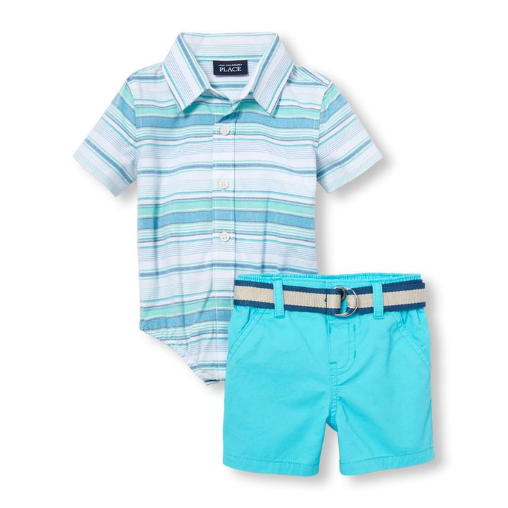 Baby Boys Short Sleeve Striped Oxford Button-Down Shirt And Belted Chino Shorts