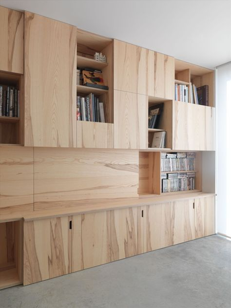 Natural wood storage | could get a look like this with Slab doors in American Red Gum wood veneer from Northern Contours