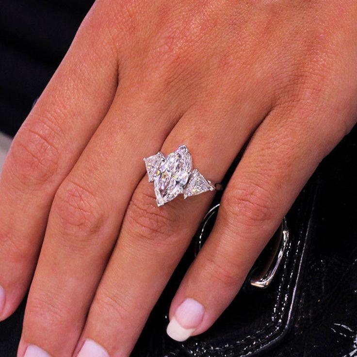 Huge 4 52ctw Marquise Cut Three Stone Trillion Diamond Platinum Engagement Ri