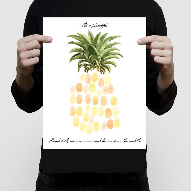 pineapple fingerprint guest book | pineapple baby shower ideas | pineapple party ideas