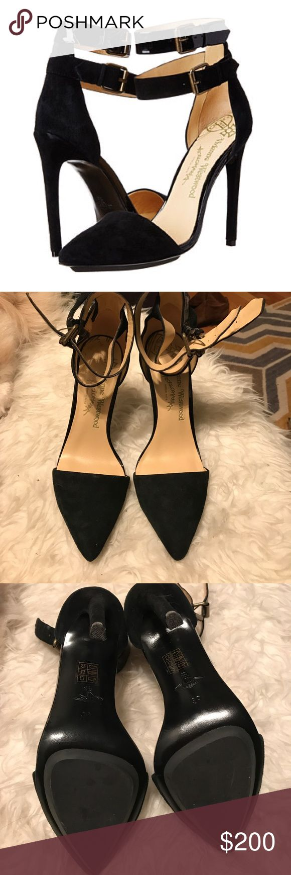 """Vivienne Westwood strappy dress pump Strappy black suede/black patent leather pumps from Vivienne Westwood Anglomania featuring a pointed toe, a brand embossed leather insole, side buckle fastenings and a 5"""" high heel. Fits true to size.   Only worn these once inside my house! They are in really great condition - soles are like new - only flaw is wear under the pointed toes (see last picture) but this is not visible when you have them on.  Platform measures approximately 0.25"""" 90% suede 10%…"""