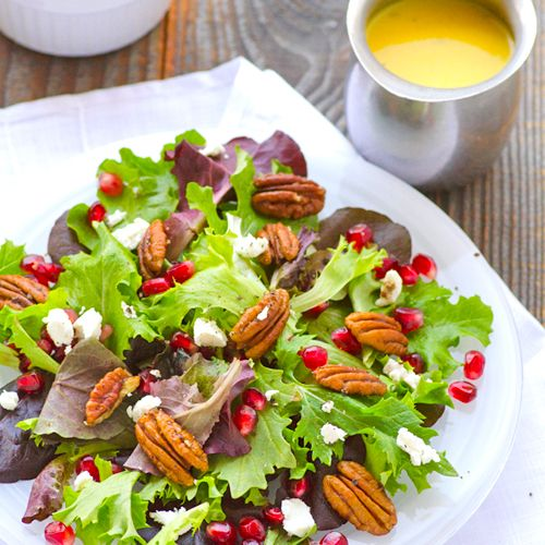 Baby Greens Salad with Pecans, Pomegranate, Goat Cheese & Mango Dressing | iFOODreal