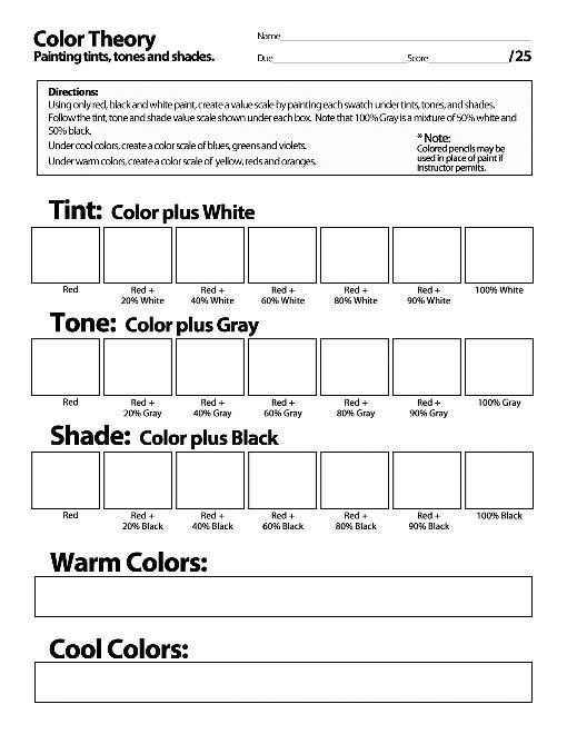 color theory worksheet Google Search Art Journal in