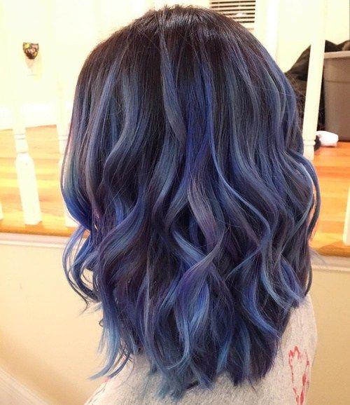 black hair with ash blue balayage