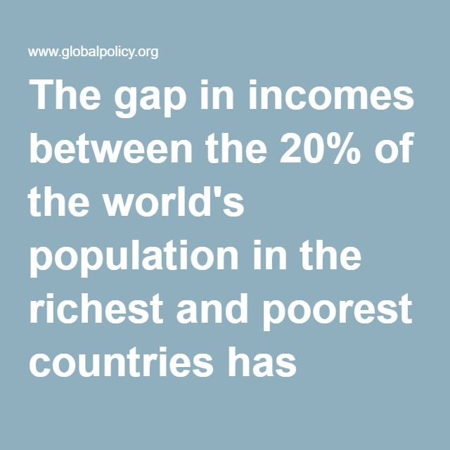 The gap in incomes between the 20% of the world's population in the richest and poorest countries has grown from 30 to 1 in 1960 to 82 to 1 in 1995, and Third World conditions have in many respects worsened. Per capita incomes have fallen in more than 70 countries over the past 20 years; some 3 billion people--half the world's population, live on under two dollars a day; and 800 million suffer from malnutrition.6 In the Third World, unemployment and underemployment are rampant, massive…