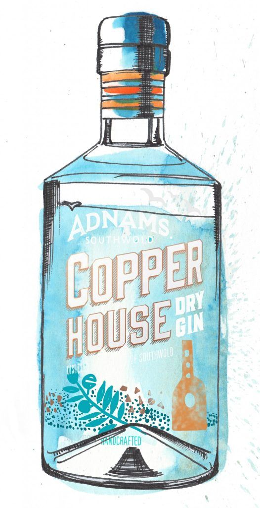 Adnams Copper House Gin Bottle Watercolour Illustration. Click the 'visit' link to commission your own choice of gin illustrations