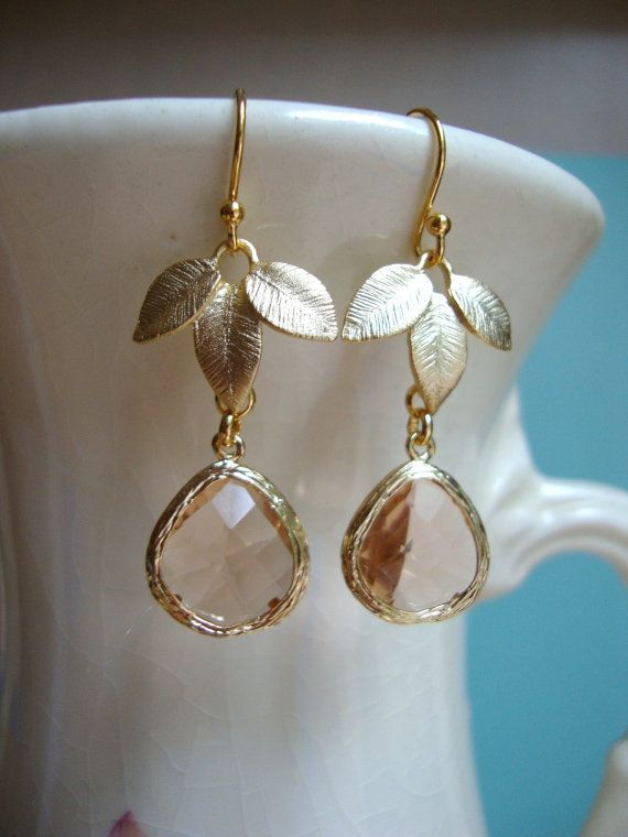 Champagne glass and gold leaves earrings bridesmaid for Jewelry for champagne wedding dress