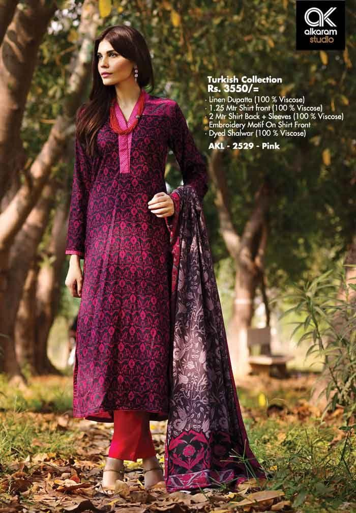 AKL 2529 - Pink Rs. 3550/- Linen Dupatta (100 % Viscose) 1.25 Mtr Shirt front (100 % Viscose) 2 Mtr Shirt Back + Sleeves (100 % Viscose) Embroidery Motif On Shirt Front Dyed Shalwar (100 % Viscose)  www.alkaramstudio.com