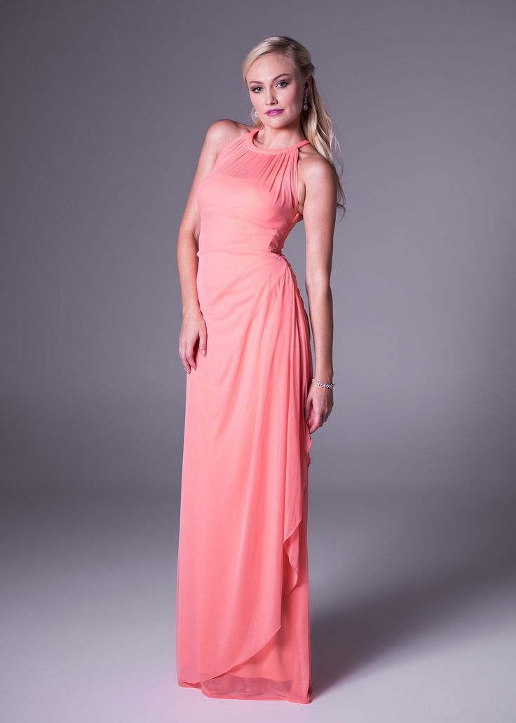 Halterneck bridesmaid's dress with asymmetrical skirt detail.<b>To order only</b>