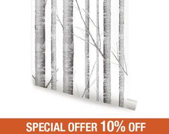 Carta da parati rimovibili Birch Tree Peel & Stick di AccentuWall
