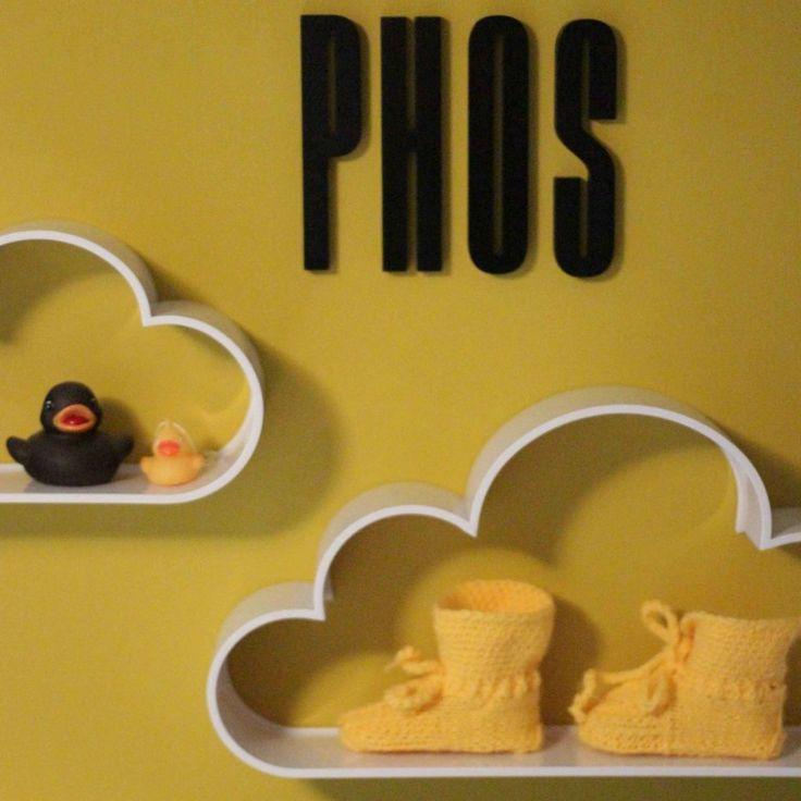 Babykamer Letters en Wolkjes (zwart/wit/geel)