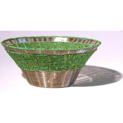 Green and Yellow Wire Beaded Art Bowl