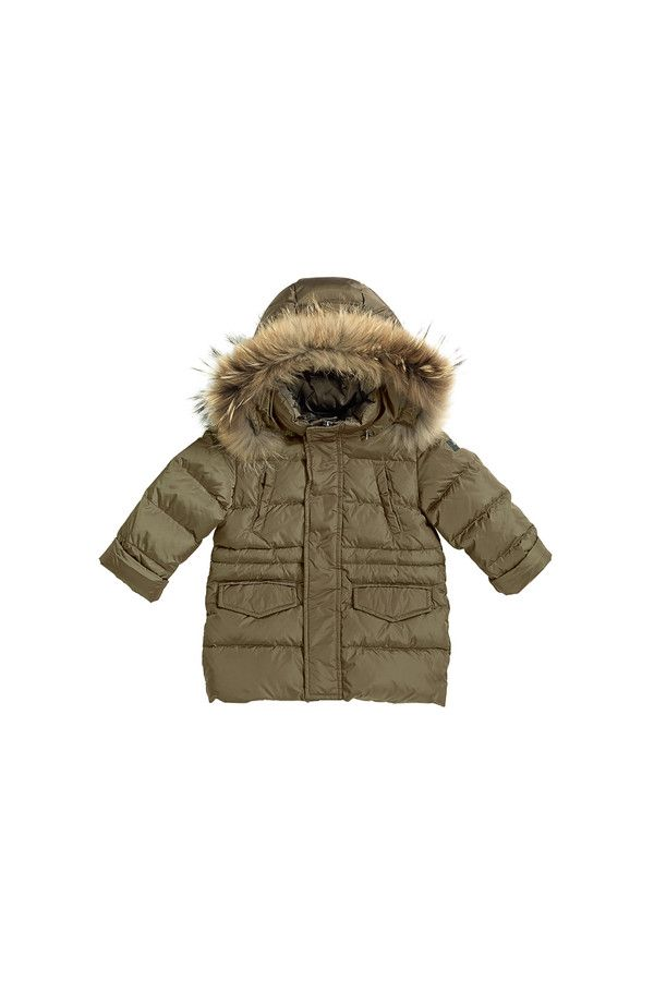 Nylon down-filled coat with fur-trimmed hood.  #ilgufo #fw13 #shopping #downjacket #fashionkids #childrenswear #fashion #musthave