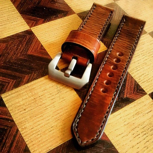 22mm light brown leather watch strap by CentaurStraps on Etsy