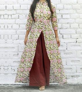 Multicoloured Cotton Printed High Low Cape And Palazzo Set