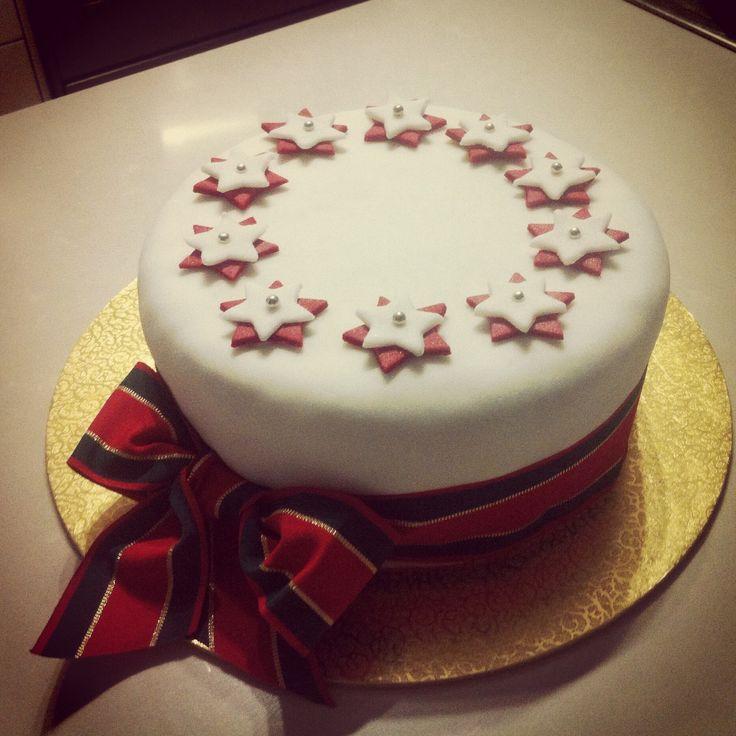 #whatsbardybeenbaking Nanny's fruitcake covered in white fondant icing