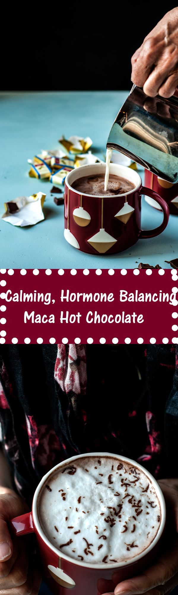 recipe for my favorite healthy, hormone balancing maca hot chocolate. Simple, delicious, vegan friendly and super comforting.