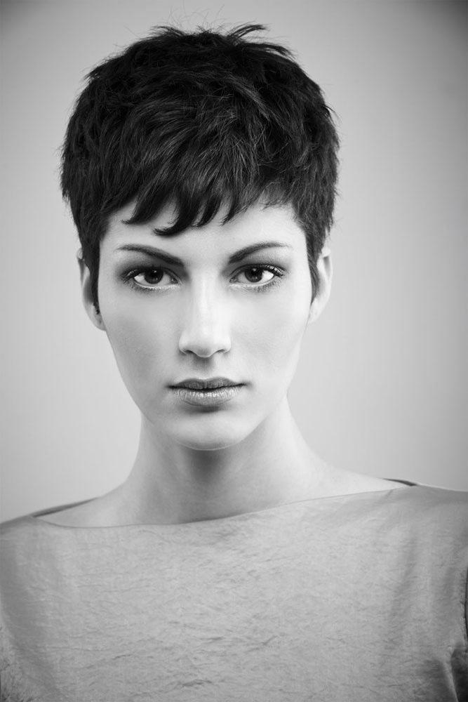 Dark and short pixie cut / short hair