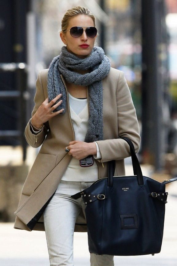 style...this woman has it ! Love her outfit ! Tan blazer, grey