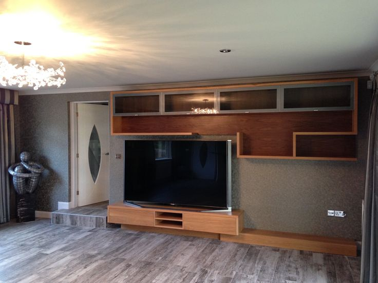 tv wall cabinet specially made to customers using a combination of oak walnut