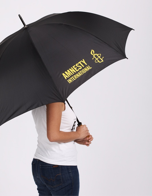 Stylish black golf Umbrella with Yellow Amnesty International Logo.