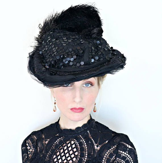 Antique Hat / Edwardian / 1910s Hat / Early sequins / Silk